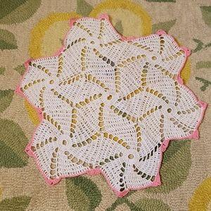 Vintage crochet handmade pink & white doilie